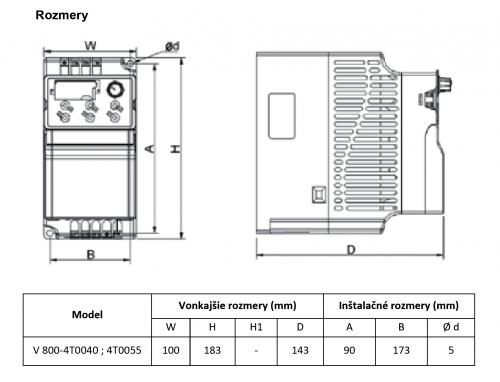 frekvenčný menič v800 5,5kw