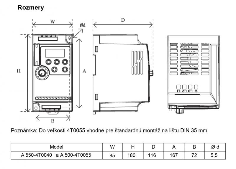 frekvenčný menič a550 5,5kw