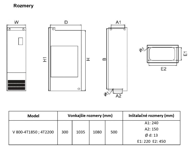 frekvenčný menič v800 185kw