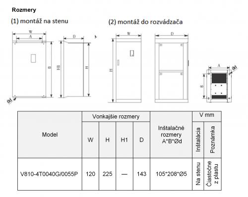 frekvenčný menič v810 5,5kw