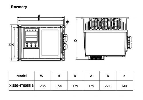 frekvenčný menič x550 5,5kw