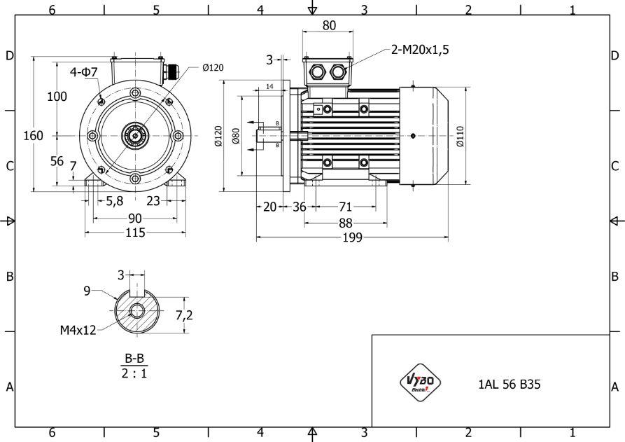rozmerový výkres 0,09 kw 1AL56A-4