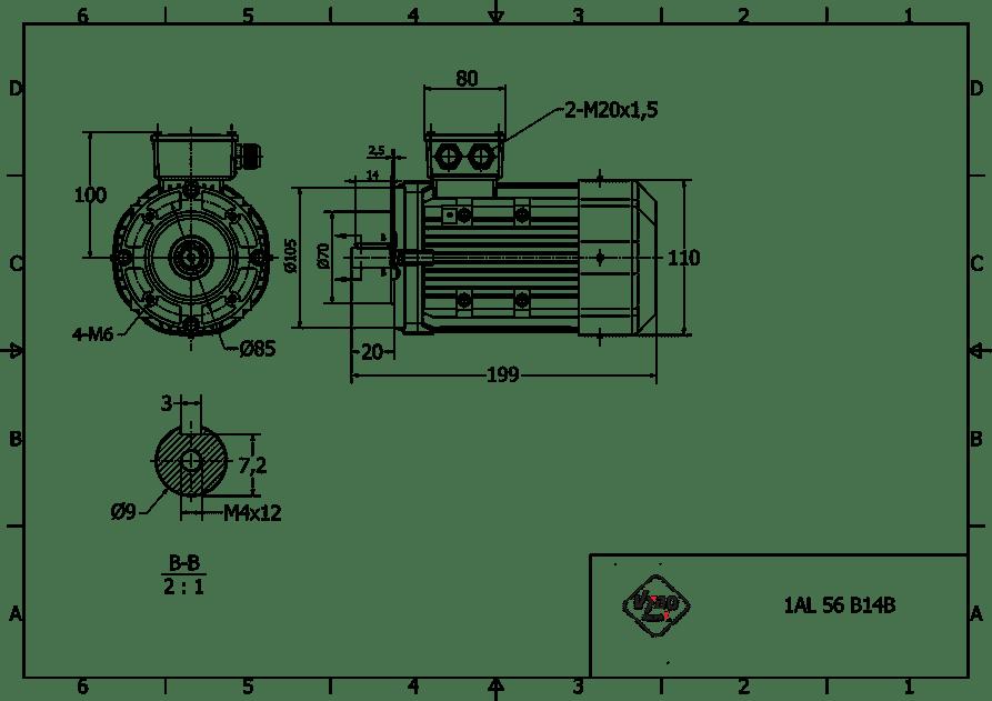 rozmerový výkres 0,09 kw 1AL56A2