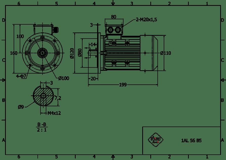 rozmerový výkres 0,12 kw 1AL56B2