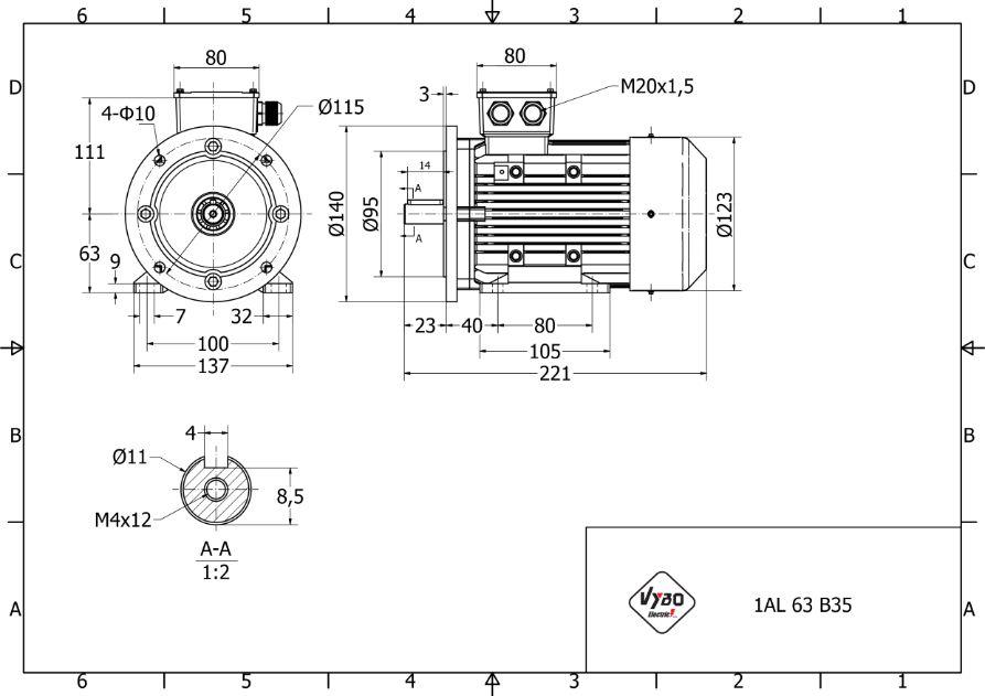 rozmerový výkres 0,18 kw 1AL63S-4