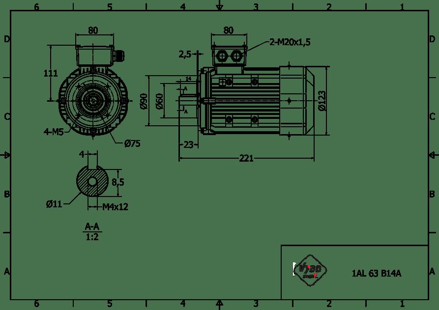 rozmerový výkres 0,18 kw 1AL63S2 B14A