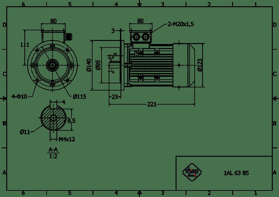 rozmerový výkres 0,18 kw 1AL63S2 B5