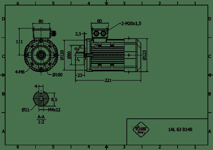 rozmerový výkres 0,18 kw 1AL63S2 B14B