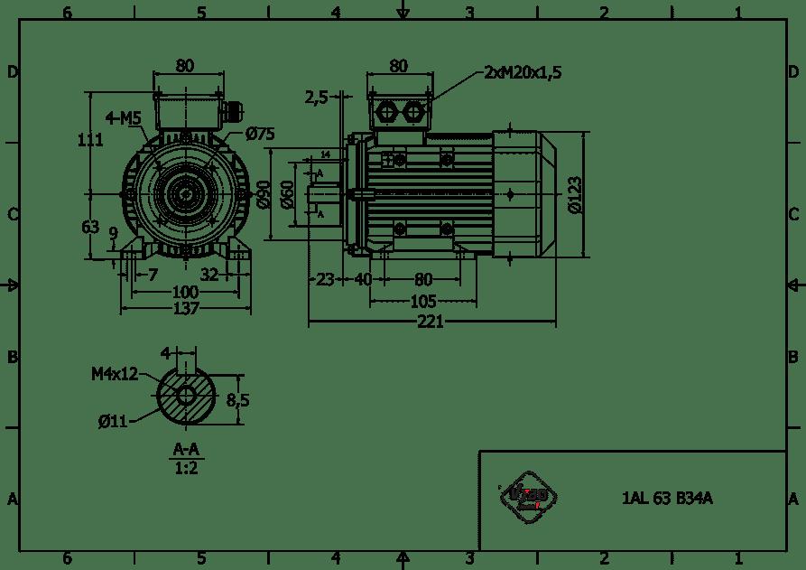 rozmerový výkres 0,18 kw 1AL63S2 B34A
