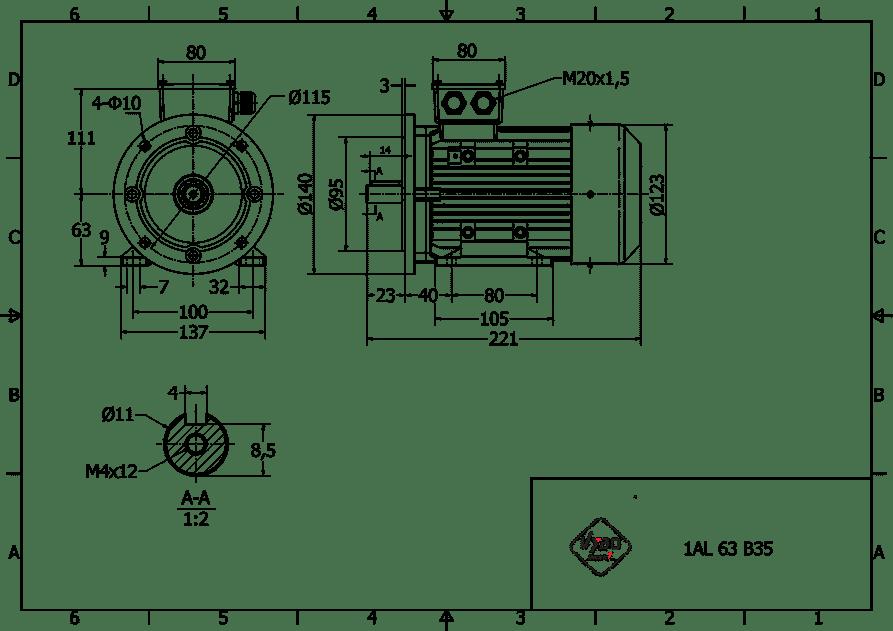 rozmerový výkres 0,18 kw 1AL63S2 B35