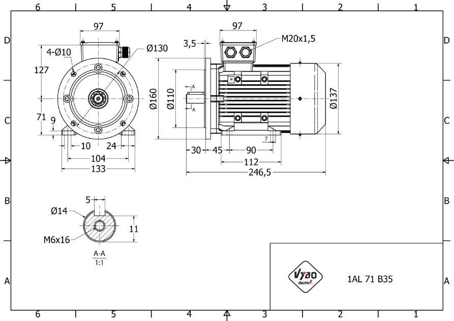 rozmerový výkres 0,25 kw 1AL71S-4