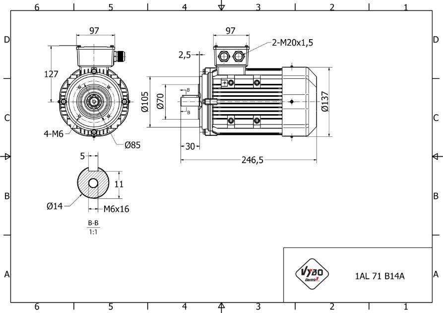 rozmerový výkres 0,37 kw 1AL71M-4