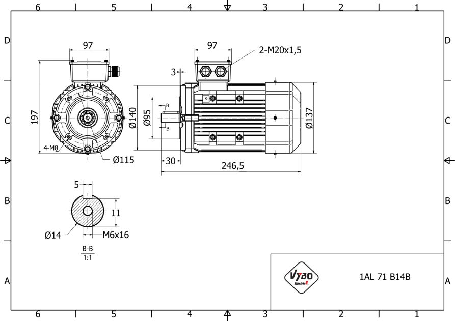 rozmerový výkres 0,37 kw 1AL71S-2 B14B