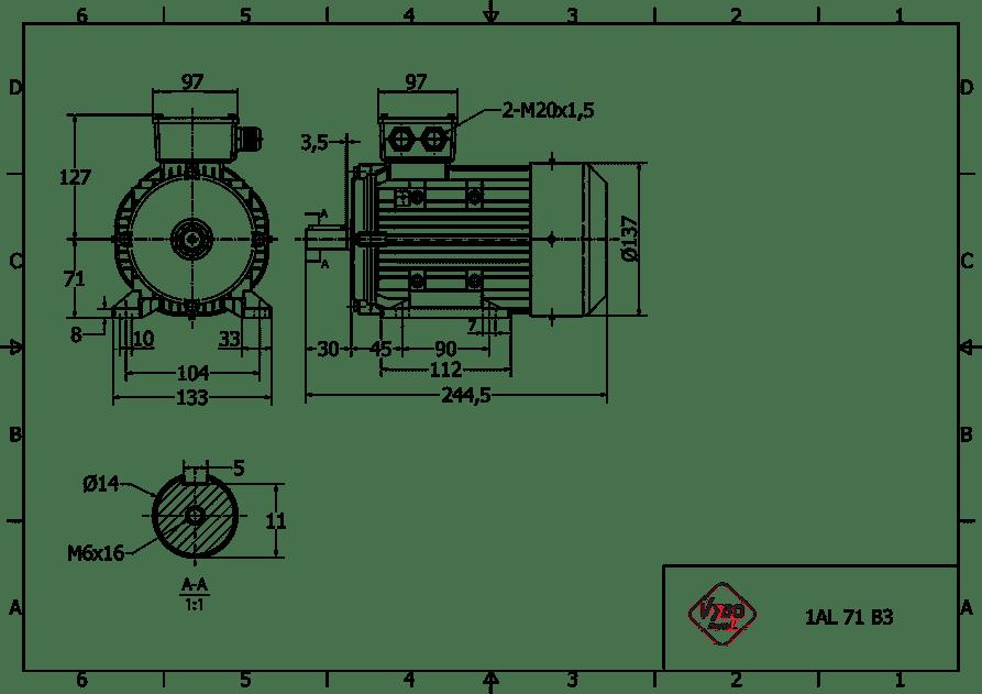 rozmerový výkres 0,37 kw 1AL71S-2 B3