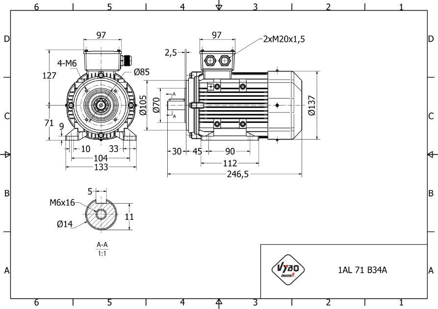 rozmerový výkres 0,37 kw 1AL71S-2 B34A