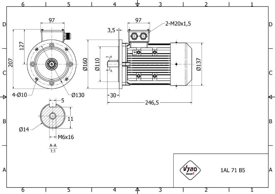 rozmerový výkres 0,37 kw 1AL71S-2 B5