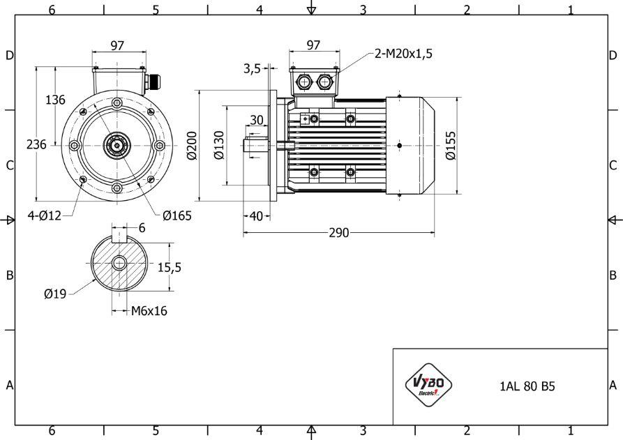 rozmerový výkres 0,37 kw 1AL80S-6