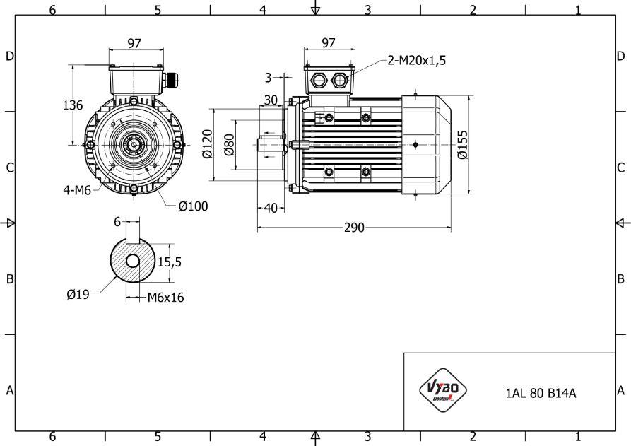 rozmerový výkres 0,55 kw 1AL80B-6