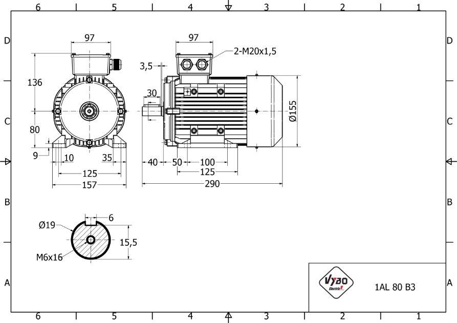 rozmerový výkres 0,75 kw 1AL80B-4