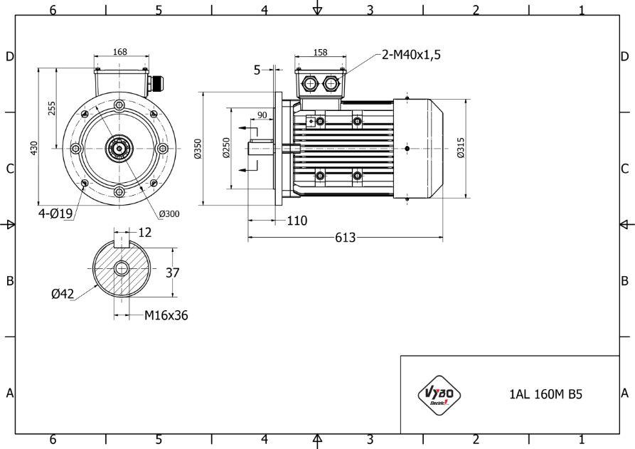 rozmerový výkres 11 kw 1AL160M2