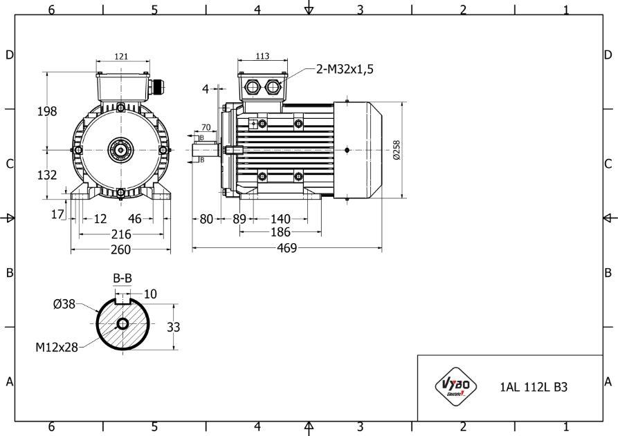 rozmerový výkres 7,5 kw 1AL132S2