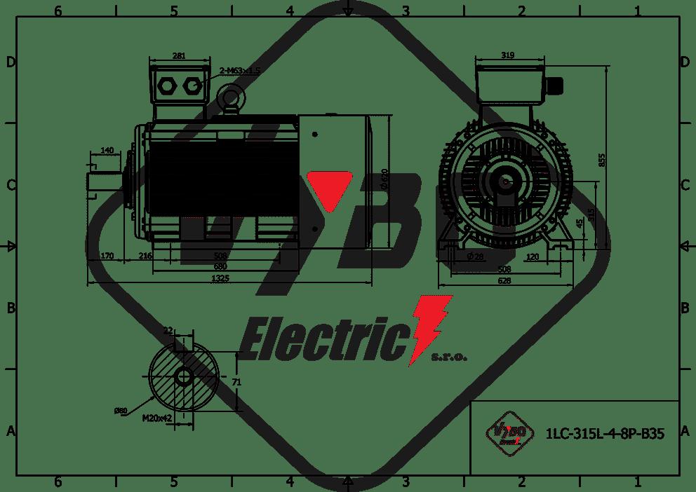 rozmerový výkres elektromotor 110kw 1LC315L08
