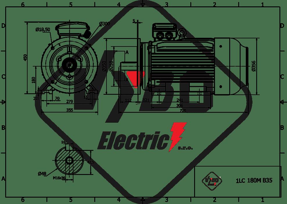 rozmerový výkres elektromotor 11kw 1LC180M-8