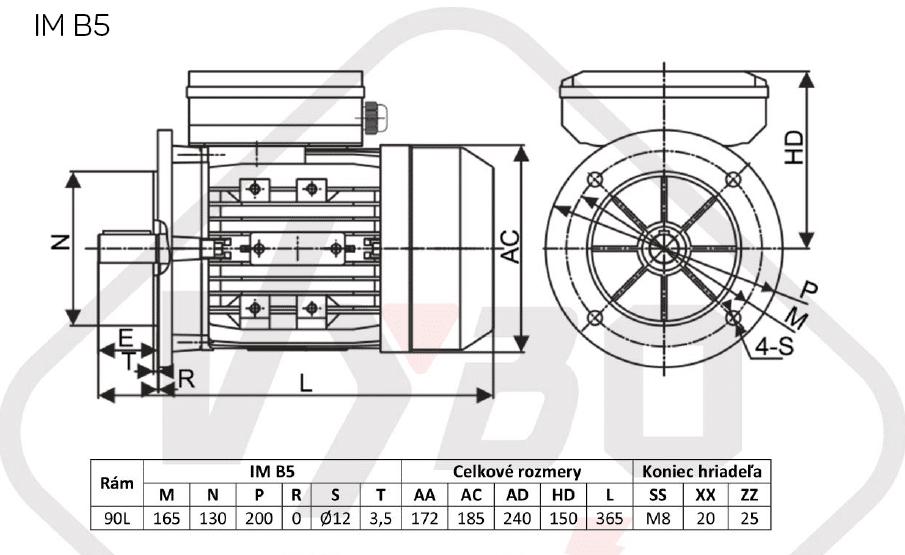 rozmerový výkres jednofázový elektromotor 230V 1,5kw 1ALJ90L2-4