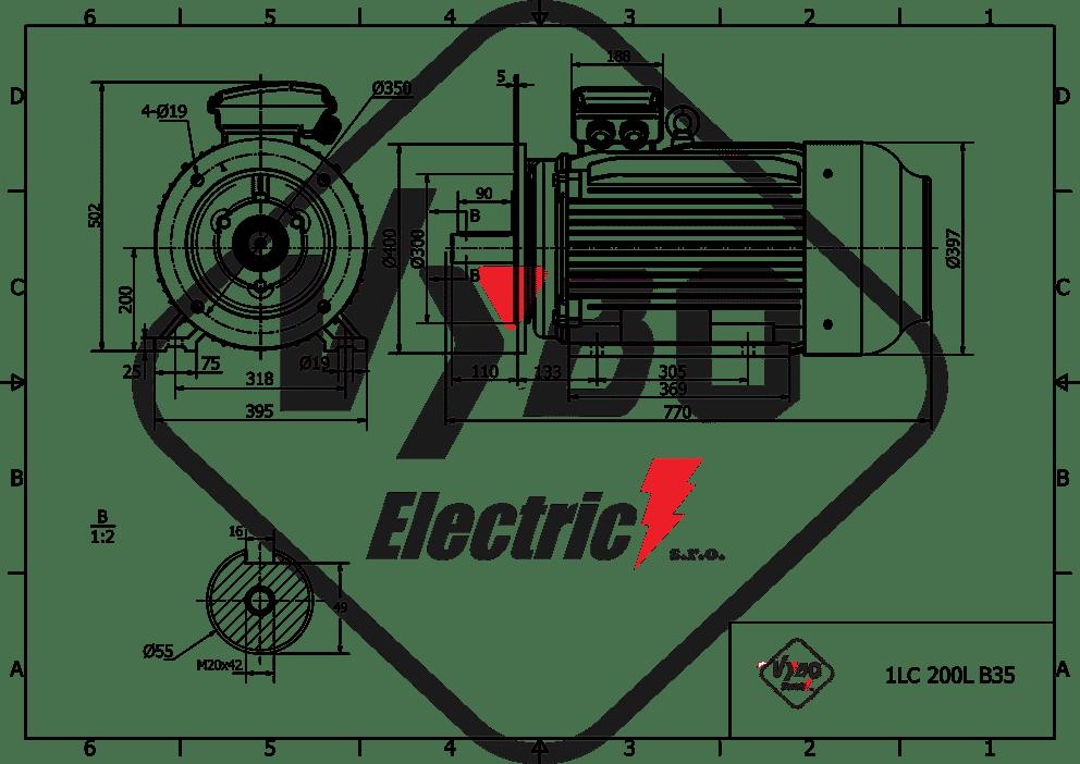 rozmerový výkres elektromotor 15kw 1LC200L-8