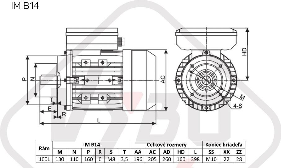 rozmerový výkres jednofázový elektromotor 230V 2,2kw 1ALJ100L1-4