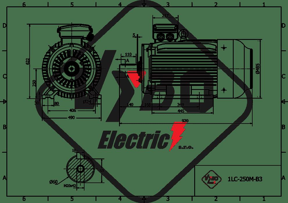 rozmerový výkres elektromotor 22kw 1LC225M-8