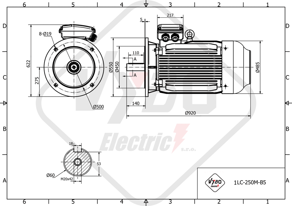 rozmerový výkres elektromotor 30kw 1LC250M-8