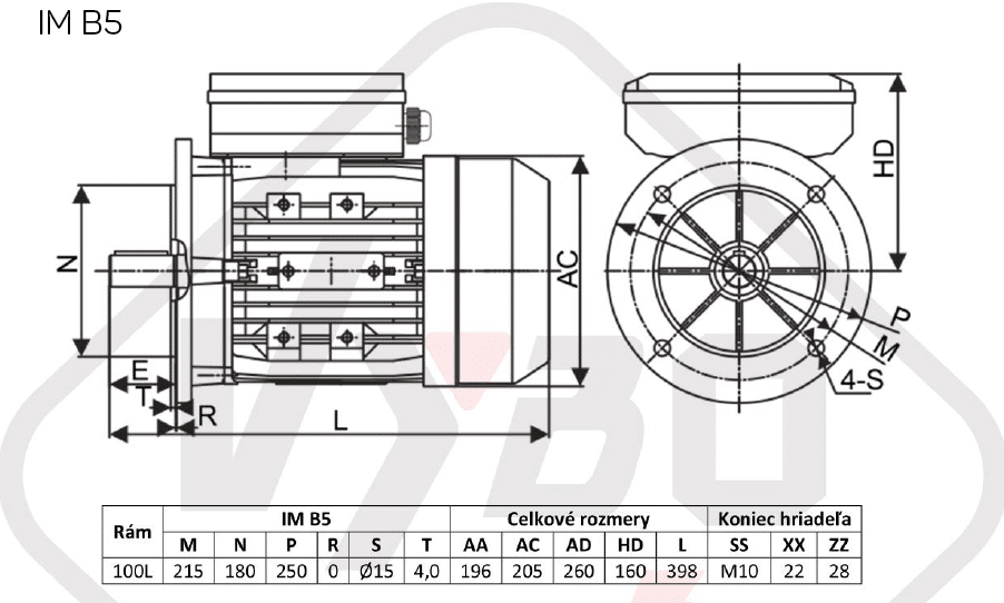 rozmerový výkres jednofázový elektromotor 230V 3kw 1ALJ100L2-4