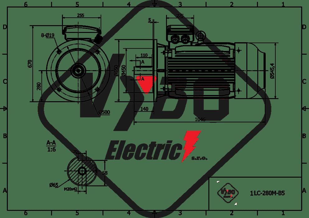 rozmerový výkres elektromotor 45kw 1LC280M-8