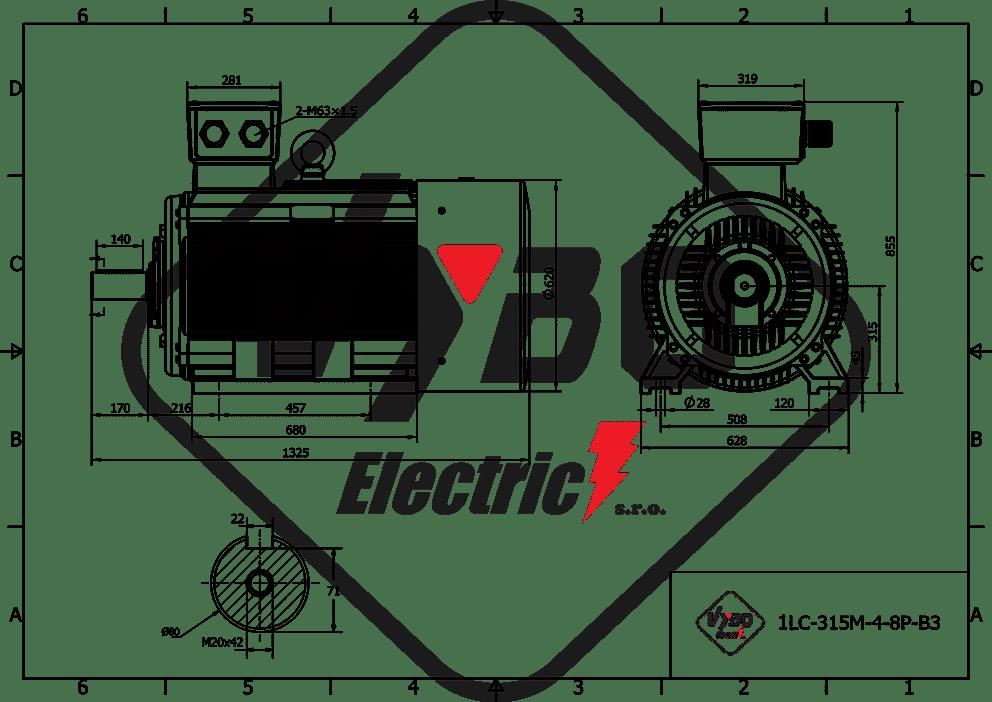 rozmerový výkres elektromotor 55kw 1LC315M-8