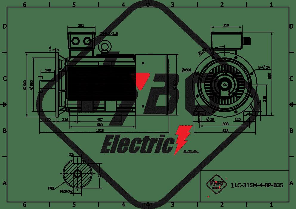 rozmerový výkres elektromotor 90kw 1LC315M08