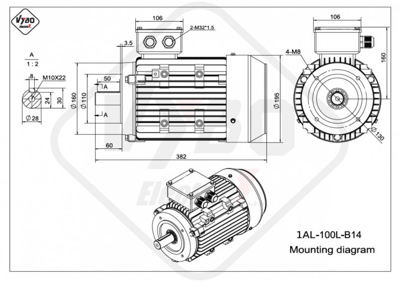 rozmerový výkres 1AL-100L-B14
