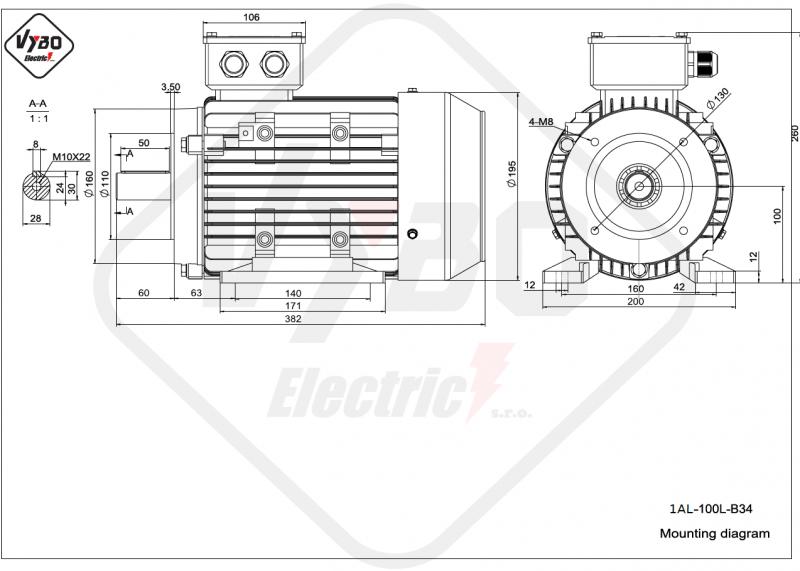rozmerový výkres elektromotor 1AL 100L B34