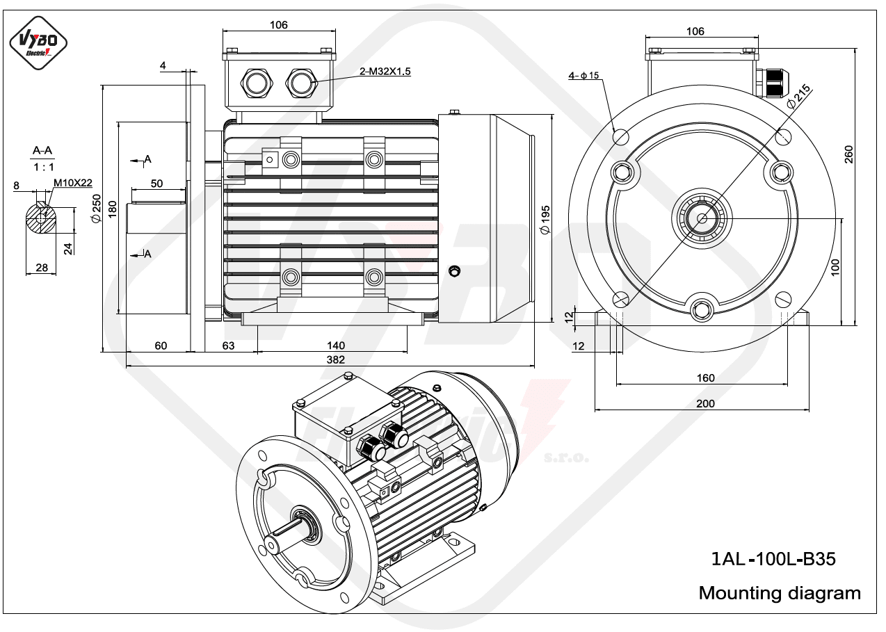 rozmerový výkres elektromotor 1AL 100L B35