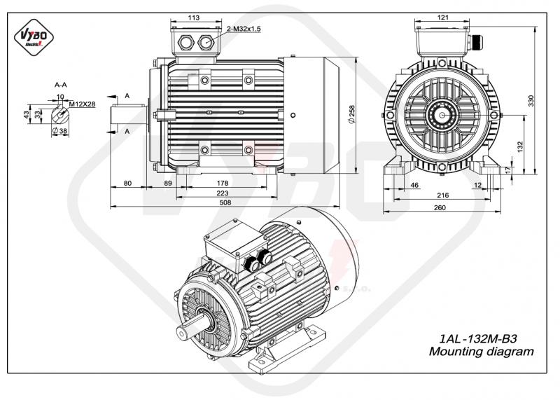 rozmerový výkres elektromotor 1AL 132M B3