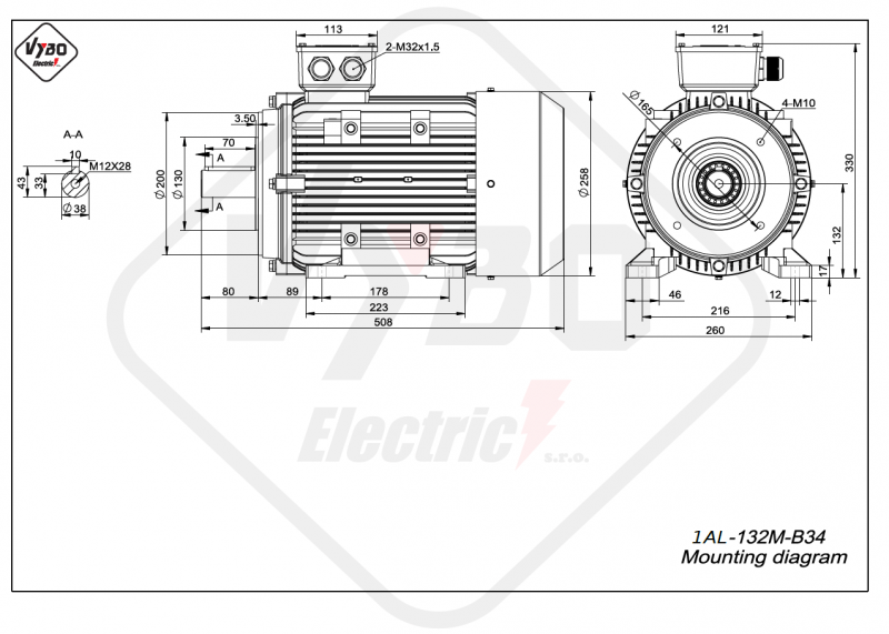 rozmerový výkres elektromotor 1AL 132M B34