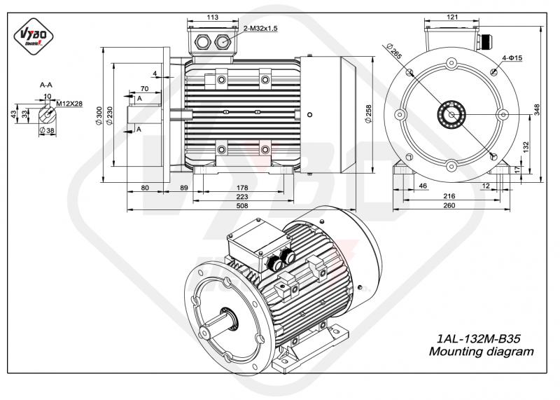 rozmerový výkres elektromotor 1AL 132M B35