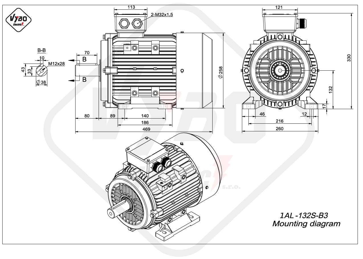rozmerový výkres elektromotor 1AL 132S B3