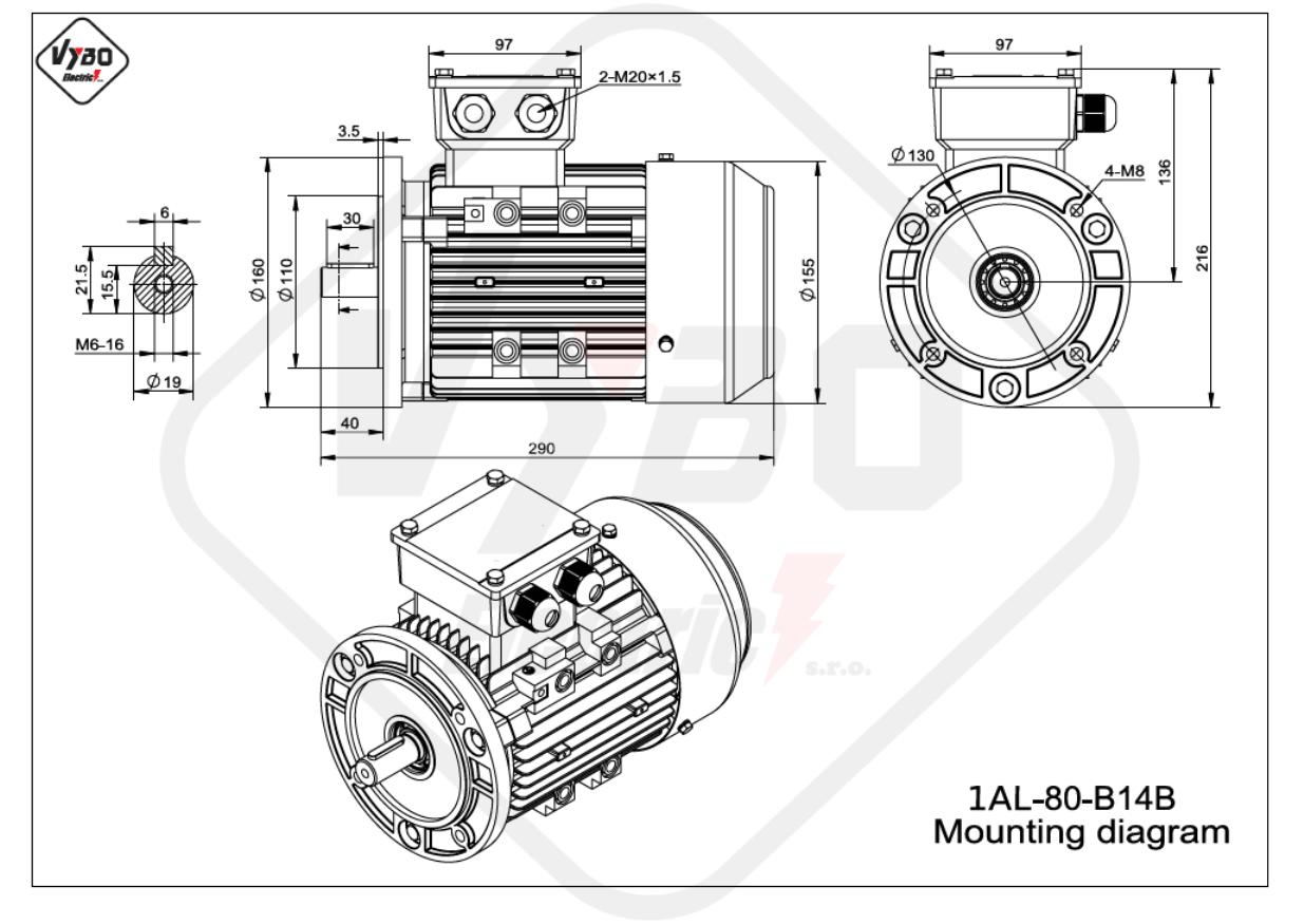 rozmerový výkres 1AL-80-B14B
