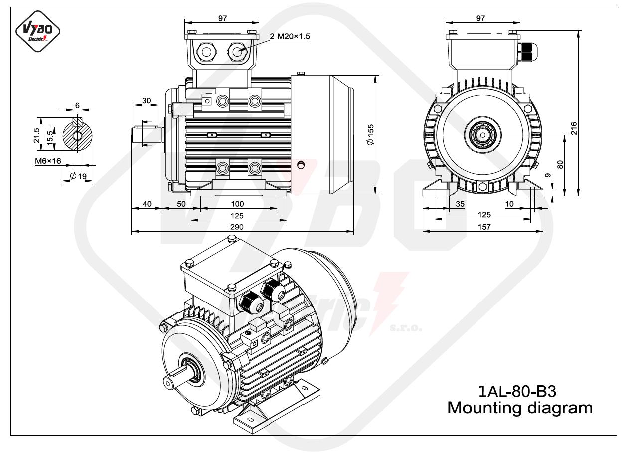 rozmerový výkres elektromotor 1AL 80 B3