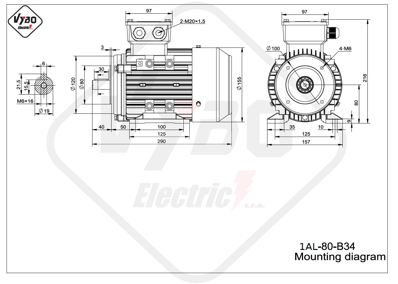 rozmerový výkres elektromotor 1AL 80 B34