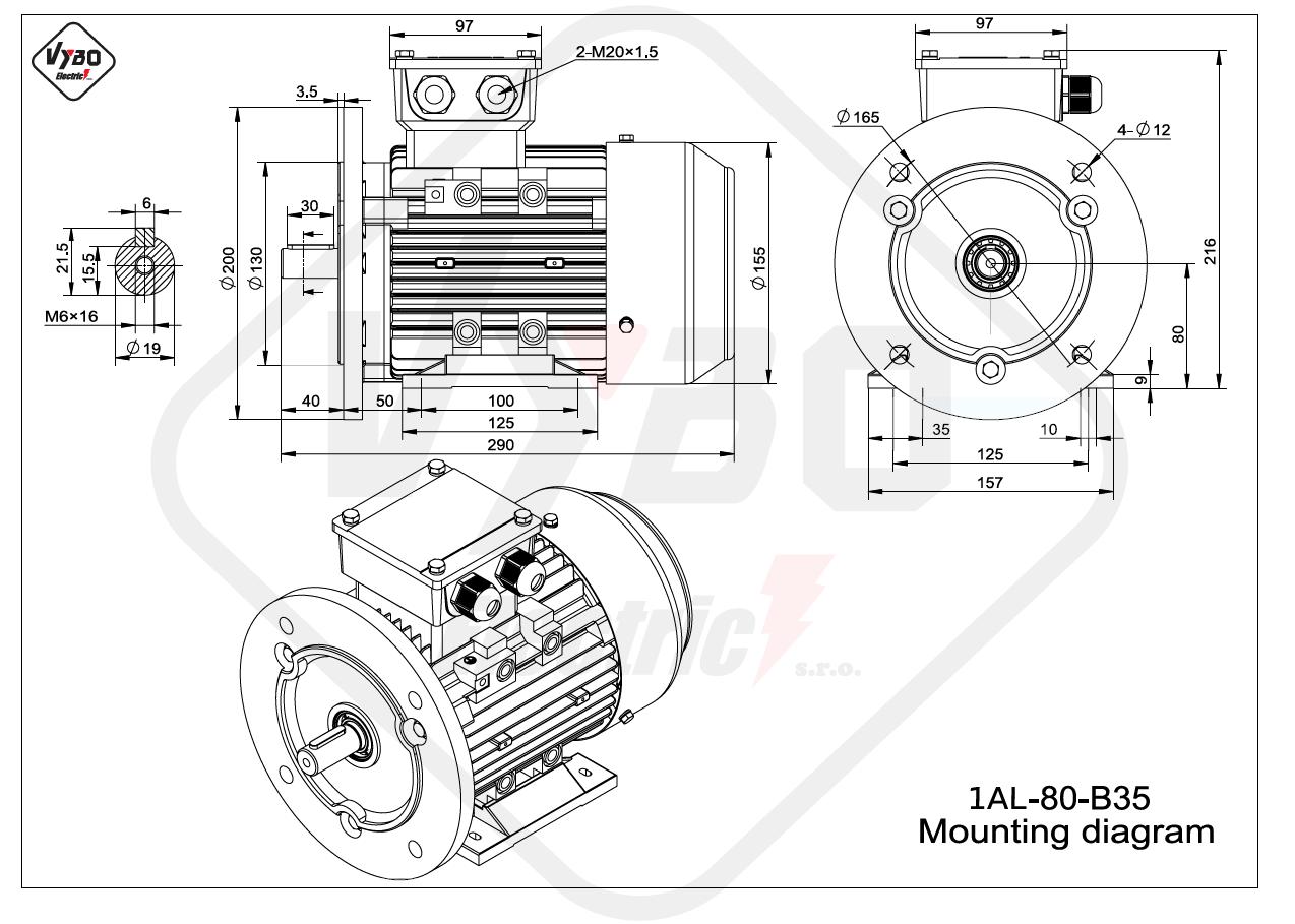 rozmerový výkres elektromotor 1AL 80 B35