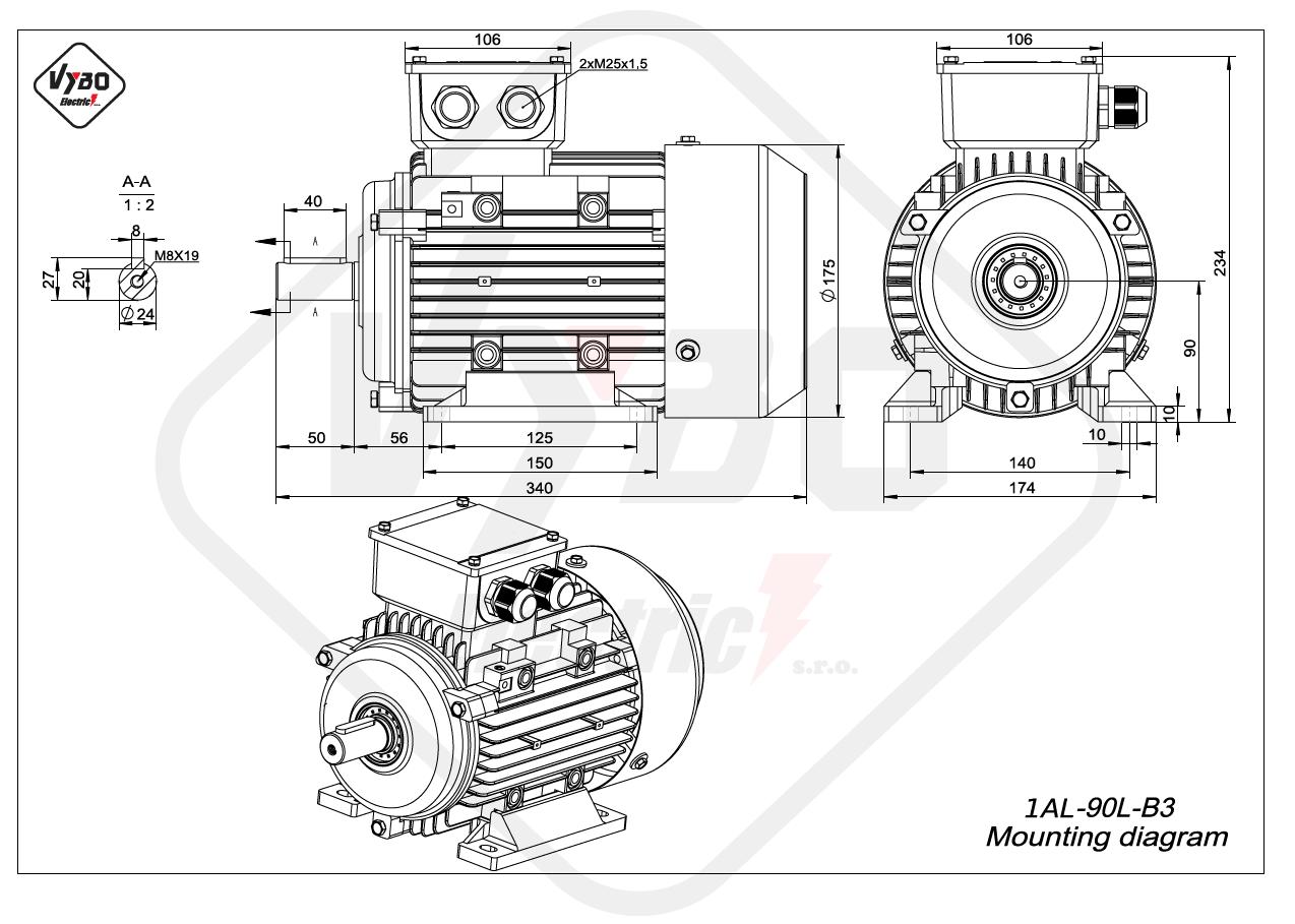 rozmerový výkres elektromotor 1AL 90L B3
