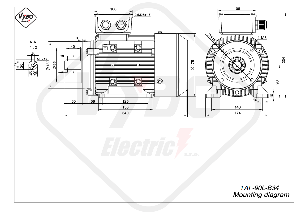 rozmerový výkres elektromotor 1AL 90L B34