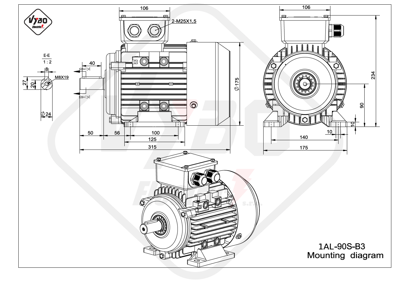rozmerový výkres elektromotor 1AL 90S B3